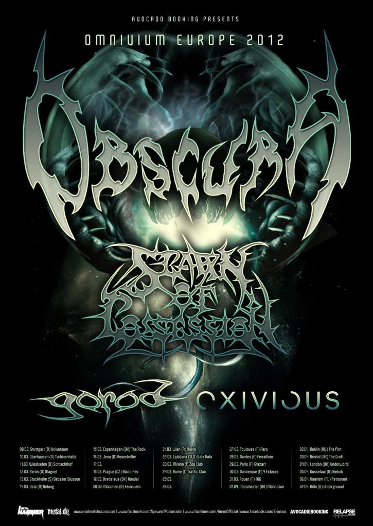 Dates de tournée : OBSCURA & SPAWN OF POSSESSION European Tour